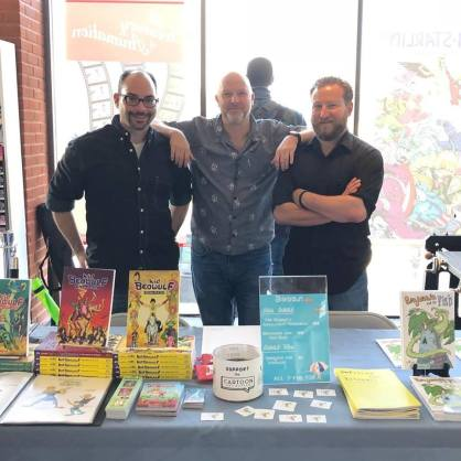Alexis E. Farjardo (Kid Beowulf), MCF founder Ron Evans, and Alex Schumacher (Decades of (in)Experience)